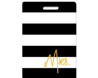 Personalized luggage tags Mr. and Mrs. set of two black with gold