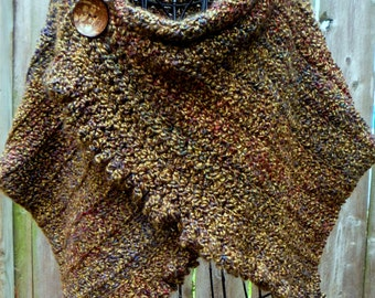 Crochet pattern for ruffled, buttoned wrap