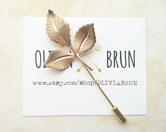 Rose Leaf Stick Pin Rose Leaf Lapel Pin Gold Rose Leaf Brooch Flower Brooch Flower Pin Leaf Pin Gifts For Her