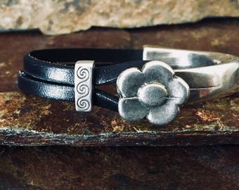 Leather Bracelet with flower cuff