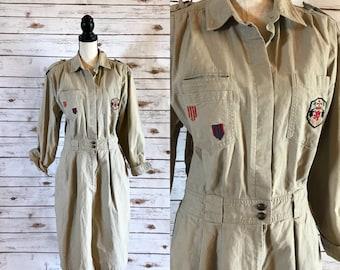 80's Flight Suit Style Dress, Vintage SK & Company Khaki Flight Suit Style Dress Size L, Vintage Ramie Cotton Dress by SK Wear