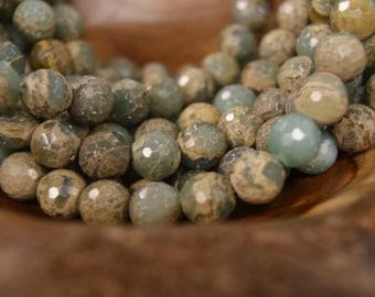 Blue Impression Jasper  8mm 12mm Smooth Round 12mm Faceted Round Gemstone Beads-15 inch Strand