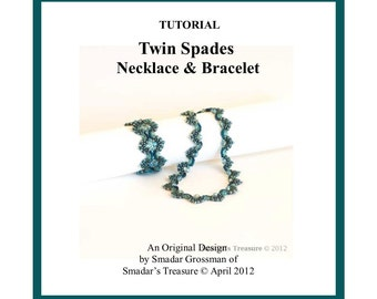 Beading Tutorial, Twin Spades Necklace and Bracelet. Beading Pattern with SuperDuo Beads and Pearls. Beadweaving Pattern by Smadar Grossman