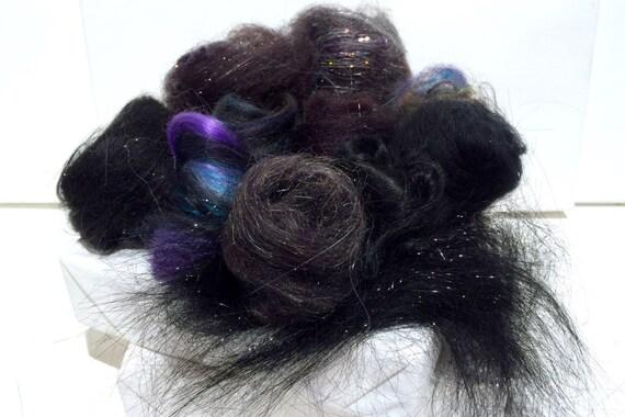 Black Fiber Art kit Sampler, wool, Black Angelina firestar glitz, Needle Wet Felting Spinning, black palette, mini batt, Black roving, 1 oz
