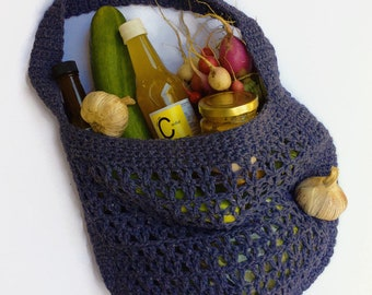 Market Bag upcycled yarn crochet string bag eco friendly bag green say no to plastic bags