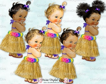 Hawaiian Luau Vintage Baby Girl  | Grass Skirt Tropical Flowers | 3 Skin Tones Afro Puffs | Clipart Instant Download