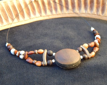 ethnic Choker necklace with natural seeds