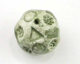 green beads, light green beads, Avocado Green beads, porcelain beads, ceramic beads, Triangle beads, textured beads, crater beads