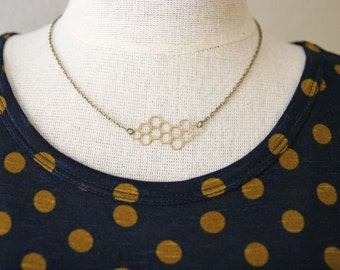 Brass Honeycomb Necklace   Bee Necklace   Simple Everyday Necklace   Modern Geometric Necklace   Hexagon Necklace   Honey Comb Jewelry