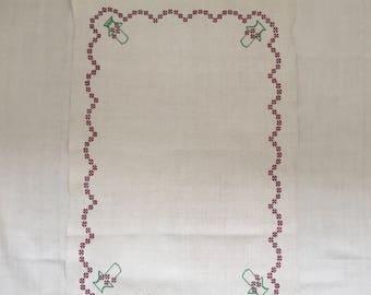 Embroidered Patterned Tea towel Linen with 'FJ' Monogram Vintage Fabric Handmade Linen
