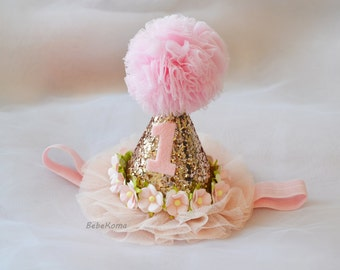 pink party hat headband, flower crown, 1st birthday party, girls party hat, glitter party hat, birthday hat girl, pink party hat, cake smash