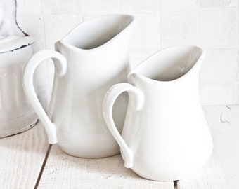 Set of 2 Vintage French Ironstone Pitchers || Shabby Chic White Ceramic
