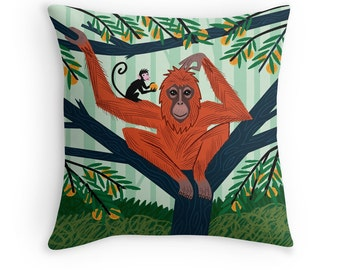 """The Orangutan in The Orange Trees - Children's illustrated Cushion Cover / Throw Pillow Cover - Animal Art - (16"""" x 16"""") by Oliver Lake"""