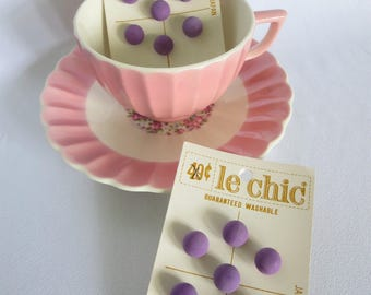 Vintage Buttons, Purple Buttons, Vintage, Button Card, Carded Buttons, Candy Buttons, Round Buttons, Shank, Japan, Le Chic