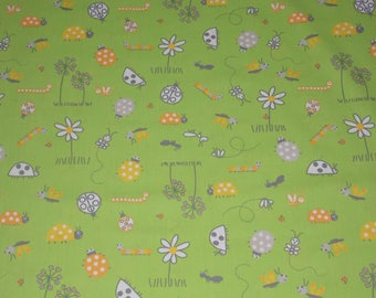 Apple green cotton fabric patterns ladybugs, flowers... 100 x 100 cm. Kids fabric.