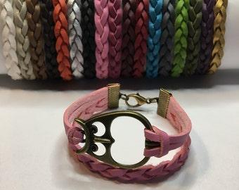 Owl bracelet Owl charm bracelet Friendship bracelet charm bracelet Leather bracelet Bronze owl charm Yoga jewelry Best friend gift