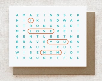 Mother's Day Card, Mom Birthday card, Birthday Card for Mom, Mother's Day Gift, Card for Mum, Card for Mother - Mom Wordsearch