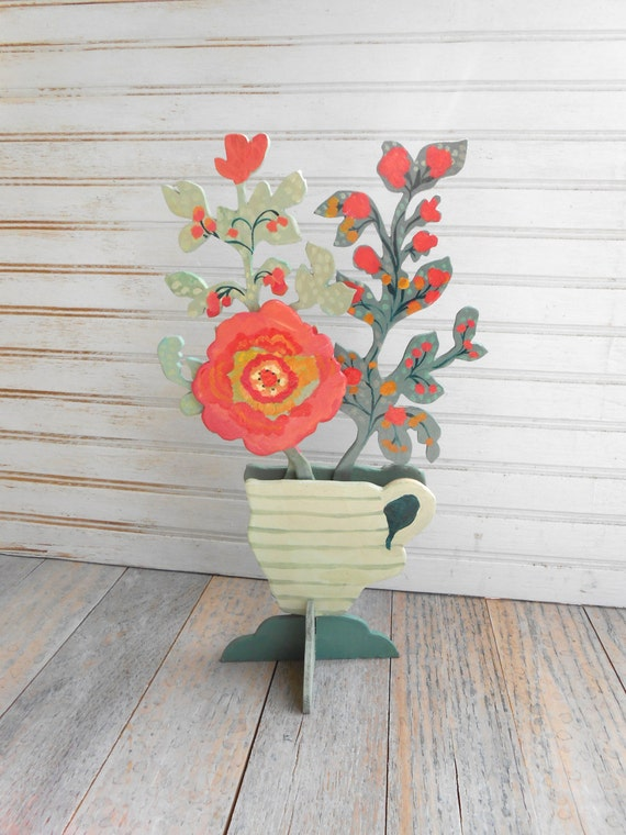 Pitcher of flowers wood sculpture by Kimberly Hodges, cottage style, cottage decor