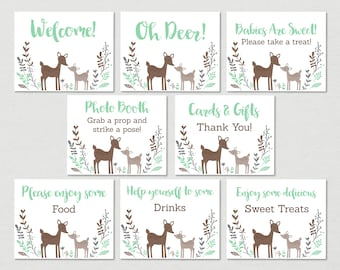 Cute Deer Baby Shower Table Signs / Deer Baby Shower / Woodland Baby Shower / Mint Green / 8 Printable Party Signs / INSTANT DOWNLOAD A175