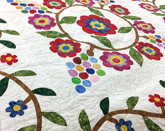 Hand Applique Cox Combe Scrap style FINISHED QUILT - The Best of the Best