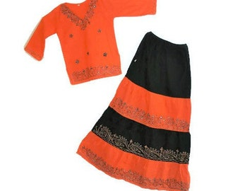BOHO girl's embroidered top skirt Hippie summer suit 8-10 years girl's Ethnic kurta maxi skirt Indian Gypsy set Festival suit  clothing set