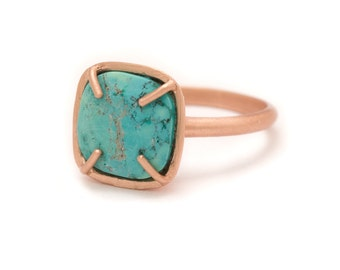 Turquoise in Rose Gold Gemstone Ring - Rose Gold Ring - Square Cushion Cut  - Gemstone Ring - Sizes  5, 6, 7, 8, 9, 10