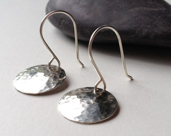 Hammered silver earrings - round silver disk earrings