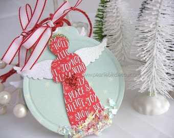 Haloed Snow Angel Art Gift Tags~hang tag~white~gold~red~turquoise blue~gift bag swag~pretty packaging~snowflake~red heart~angel wings