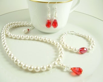 Bridal Pearl Red or Clear Crystal Jewelry Set - Pearl Bridal Parure - Pearl Crystal Jewelry Set - Bridal Jewellery Set - Wedding Jewelry