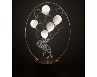 3D Balloon Girl Lamp