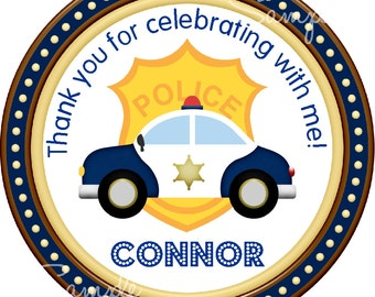 Police Car Stickers, Police Birthday Party , Police Officer sticker ot Gift Tags - Set of 12