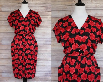 1950s red and black floral dress, 1950s style floral dress, 1980s Floral Dress, 80s Floral Dress, Vintage Floral Dress, 1950s floral dress
