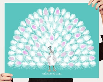 peacock guest book print fingerprint baby shower or wedding keepsake artwork, signature guestbook, customised personalised art printed bird