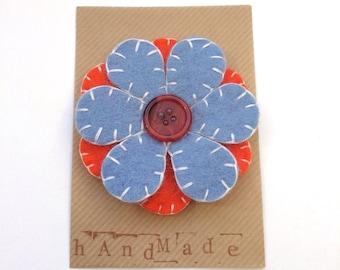 Felt flower brooch - light blue and orange
