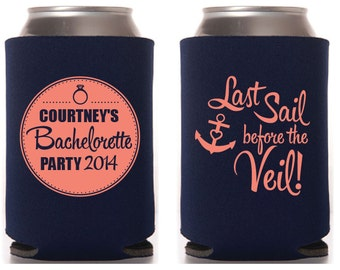 Last Sail Before the Veil Custom Bachelorette Collapsible Can Coolers
