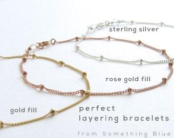 Satellite Chain Bracelet • Simple Minimal Bracelet • Modern Jewelry • Stacking Bracelet • Perfect Layering Bracelet • Silver • Gold • Rose