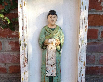 Framed Wooden Carved Painted Chinese Woman Sculptural Wall Art