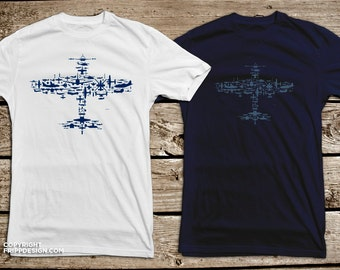 Fighter Plane Collage of Airplanes, Helicopters and Parts. Flight V1.0 Collage - T Shirt