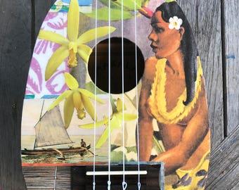 NEW OUTRIGGER DAWN, Hawaii, Hand-Collaged Makala Ukulele, Tropical, Playable Art, Collage, Flower, Ocean, Surf, Surf Art