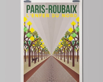 Cycling Art Print  'Paris-Roubaix'