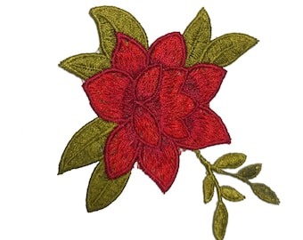Embroidered Red Rose, Flower Patch Applique, Sewing and Embellishment Supplies