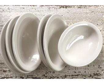 6 Buffalo China Restaurant Ware Small White Side Serve Bowls / Vintage Buffalo China Serving Bowls / White Restaurant Ware