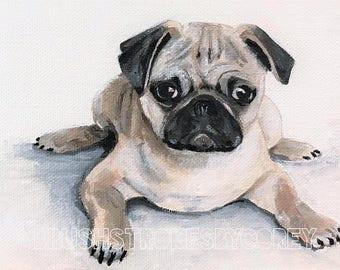 Pug Art Puppy Dog Original Acrylic Painting on Canvas Board