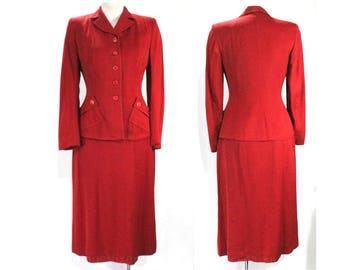 Size 4 1940s Red Suit - Late 40s Early 50s Cranberry Gabardine Jacket & Skirt - Beautiful Tailoring - Brick Red Maroon - Waist 25 - 49252
