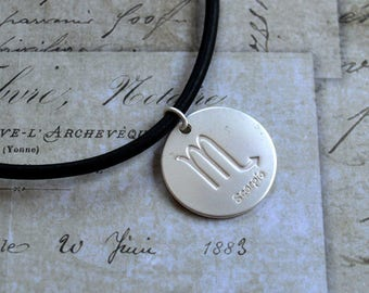 Leather Surfer Necklace With Ancient Zodiac Scorpio Distresed Cord