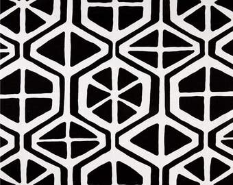 Black and white curtain panels, two 50 x 84 panels, pair geometric drapes, Aiden, rod pocket window curtains, unlined, lined or blackout