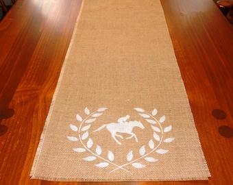 Equestrian Burlap Runner, Horse Table Runner