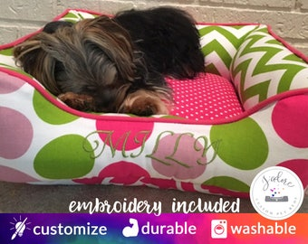 Personalized Dog Bed Colorful Pink & Green | Small Dog Bed, Pink Green, Polka Dot, Chevron | Design Your Own!