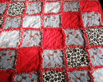 "One of A Kind  38"" x 38"" Dog Themed Flannel Rag Quilt"
