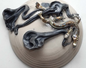Ceramic Raku Sculpture Golden Dragon With Moon and Clouds Raku Wall Hanging